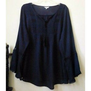 Crown & Ivy Blouse Tunic Top Size S Long Sleeve